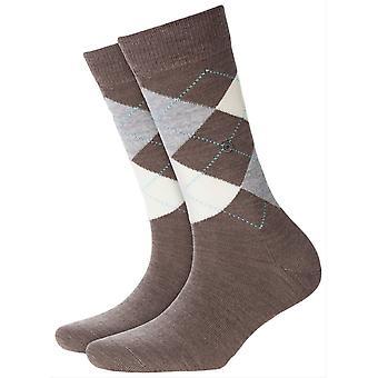 Burlington Marylebone Socks - Umber Brown/Grey/Cream
