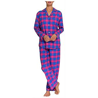 British Boxers Tartan Two Fold Flannel Pyjamas - Pink/Blue