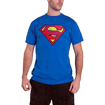 Superman T Shirt Washed Shield new Official DC Comics Mens Blue