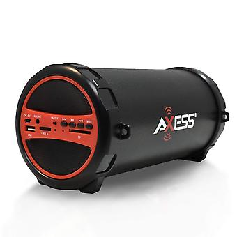 Axess Portable Bluetooth Hi-Fi Cylinder Loud Speaker with AUX Inputs - Red