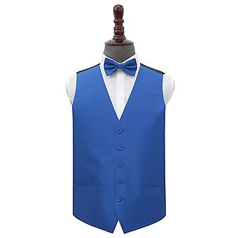 Royal Blue Plain Shantung Wedding Waistcoat & Set de lazo