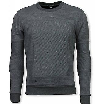 3D Ribbel Square Crewneck-sweatshirt-Grey