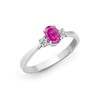 Jewelco London 18ct White Gold 4 Claw Set G SI 0.08ct Diamond and Oval Pink 0.55ct Sapphire Trilogy Engagement Ring 6mm