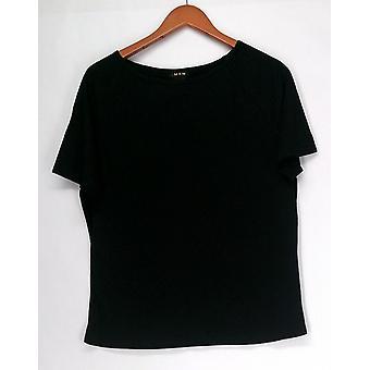 Iman Top Slip Into Slim Short Sleeve Tee Black Womens 460-386