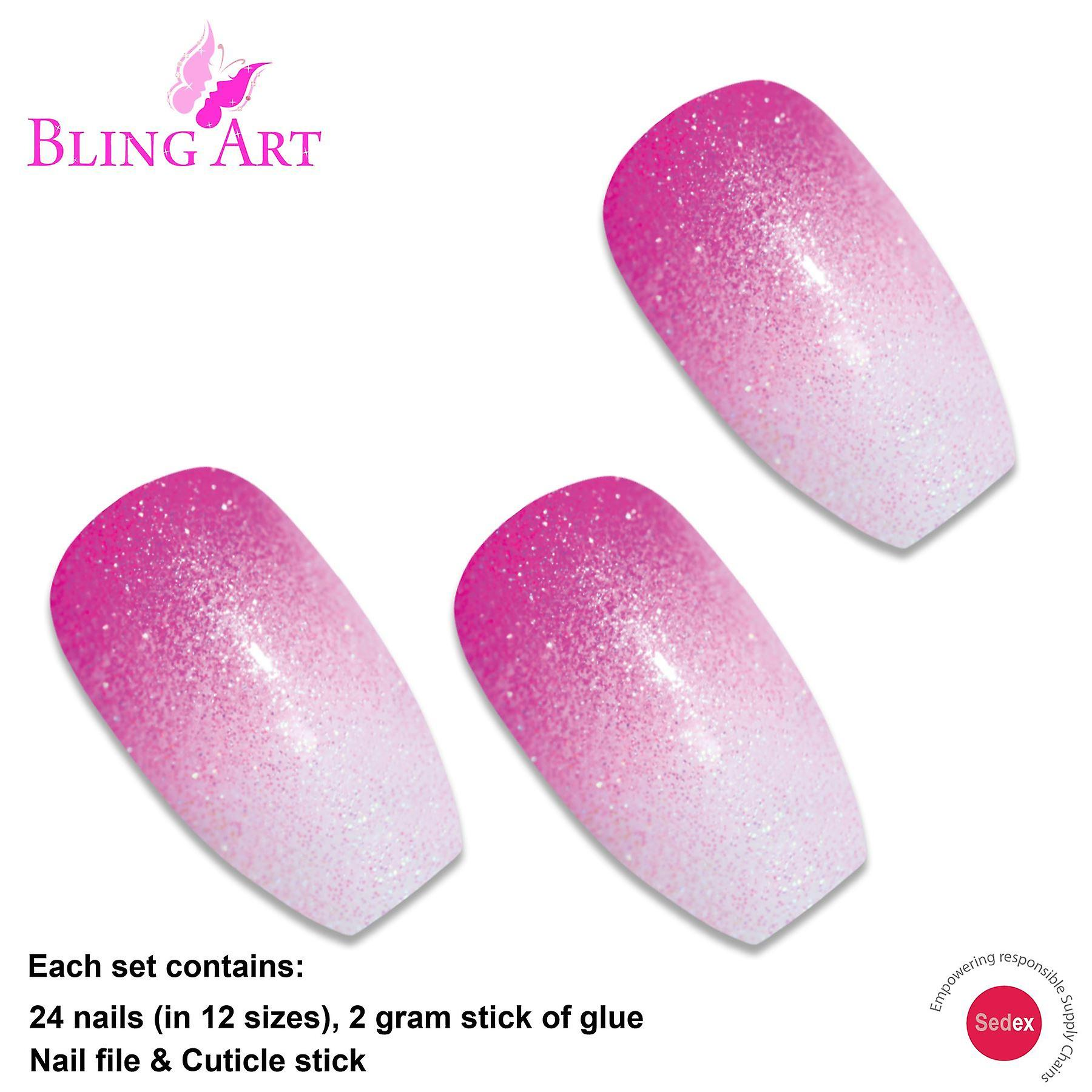 False nails by bling art pink gel ombre ballerina coffin fake long acrylic tips