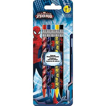Colored Mechanical Pencils - Marvel Spiderman - 5Pcs New Toys Gifts Licensed iw2502