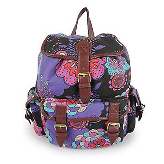 Miss K. Vintage Collection Stylish Canvas Backpack - Birdie Black