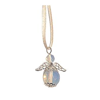 Handmade Hanging Semi-precious Moonstone Gemstone Guardian Angel in Silver Plated by Nyleve Designs