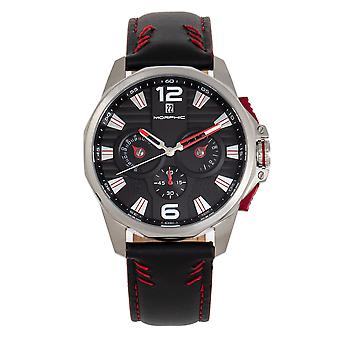 Morphic M82 Series Chronograph Leather-Band Watch w/Date - Silver/Black