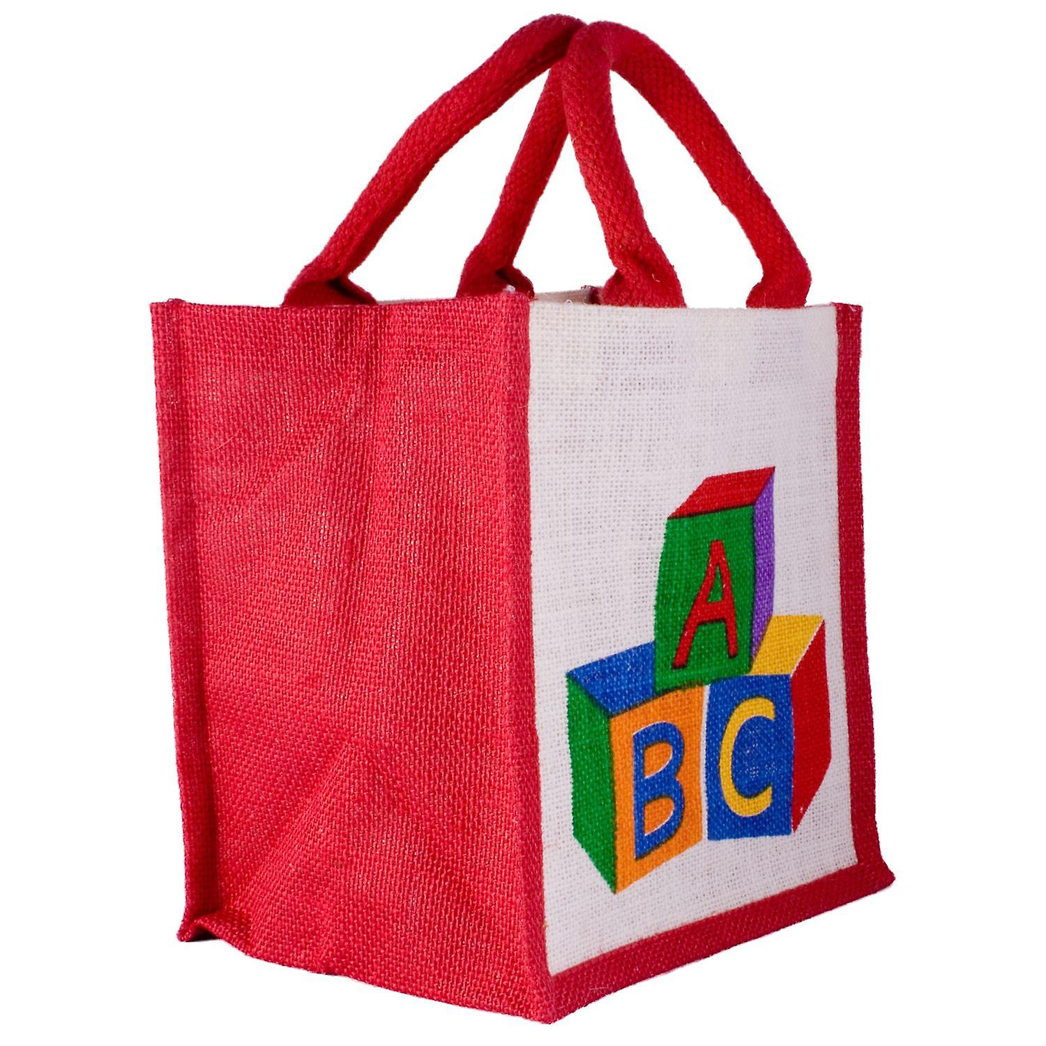 Jute Co. Bags Jute Small Lunch Tote Bag - Toy Bricks