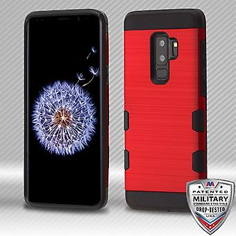 MYBAT Red/Black Brushed TUFF Trooper Hybrid Protector Cover for Galaxy S9 Plus