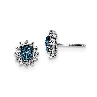 925 Sterling Zilver gepolijst Prong set Open back Gift Boxed Rhodium verguld blauw en wit Diamond Post Oorbellen Sieraden