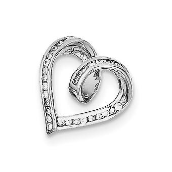 925 Sterling Silver Open Solid Polished Rhodium plaqué Rhodium Plaqué CZ Cubic Zirconia Simulated Diamond Love Heart Sli