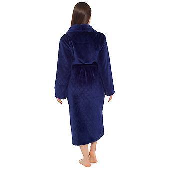 Damen geprägt Schal Kragen Design Fleece Nachtwäsche Bademantel Dressing Kleid