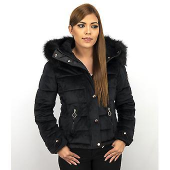 Ladies Winter coat Suede – with fur collar-black