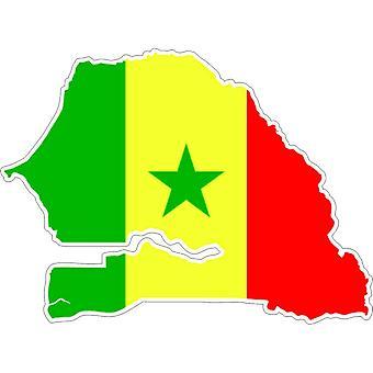 Pegatina Adhesif Coche Vinilo Bandera Mapa Senegal