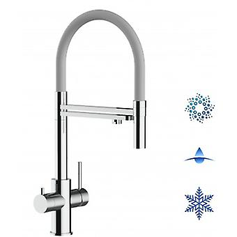 5-way Inox Filter Tap Grey Spout And 2 Jets Spray, Ideal For Sparkling, Plain And Cooled Water Systems - Polished - 440