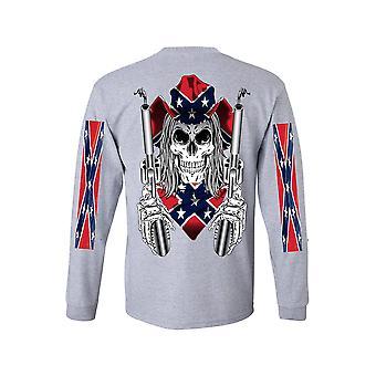 Men's Langarm Shirt Konföderierten Rebellen Flagge Cowboy mit Waffen