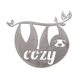 Cozy sloth - metal cut sign 15x13in