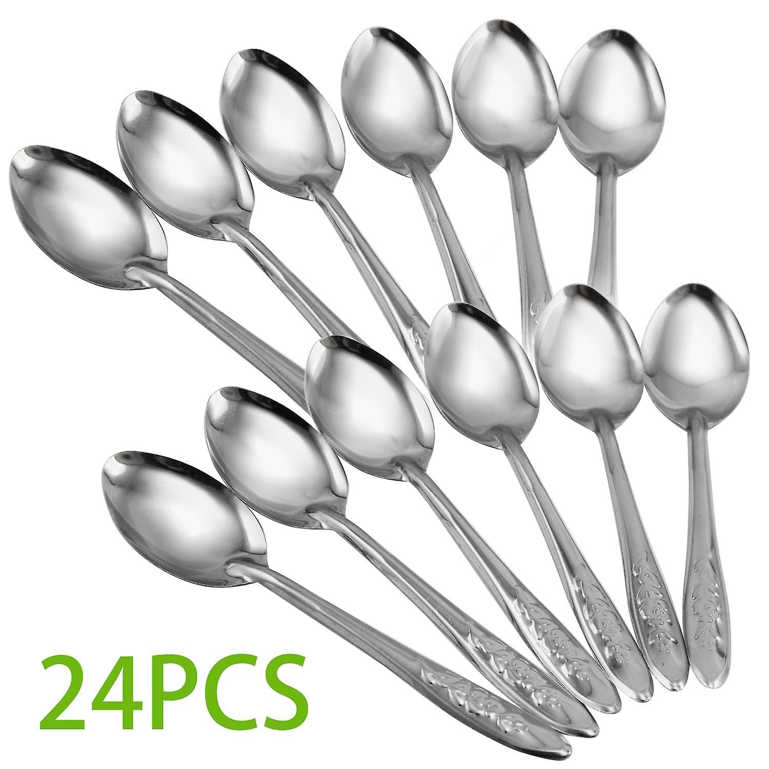 TRIXES Set of 24 Teaspoons Stainless Steel Travel Spoons