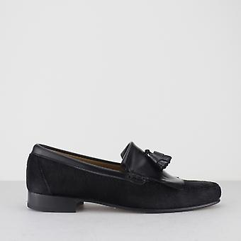 Blakeseys Navarro Mens Pony Hair Leather Fringe Loafers Black