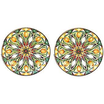 Bassin and Brown Kaleidoscope Flower Spray Cufflinks - Green/White/Orange