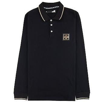 Love Moschino camisa polo de manga larga negro