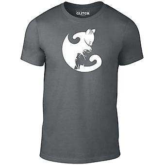 Homens ' s gato Ying Yang t-shirt
