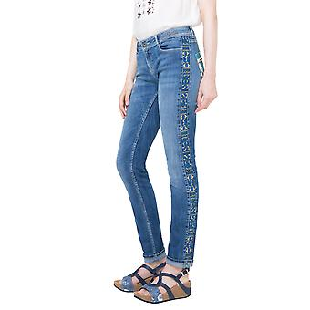 Desigual Women's Blue Embroidered Orense Jeans