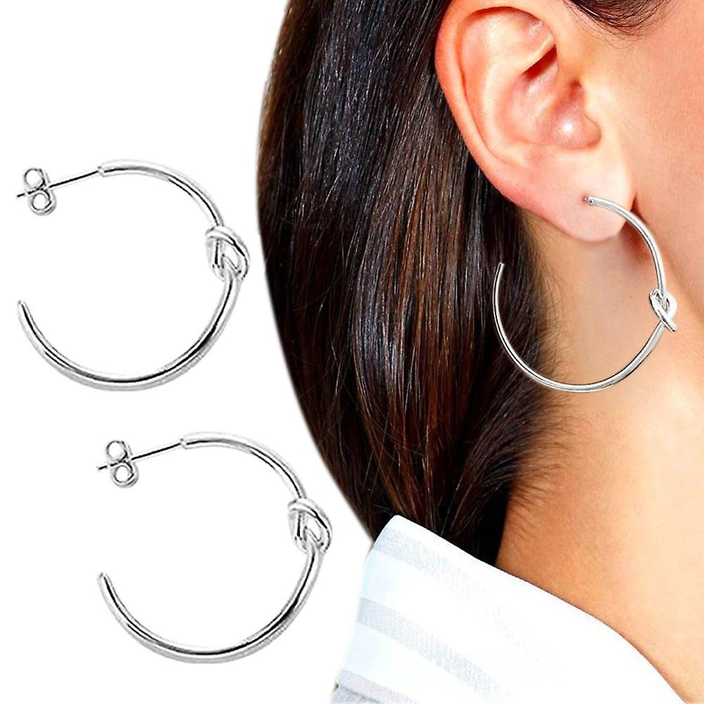 Silver Knot Hoop Earrings