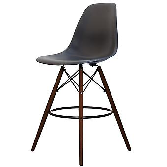 Charles Eames Style Dark Grey Plastic Bar Stool - Walnut Legs