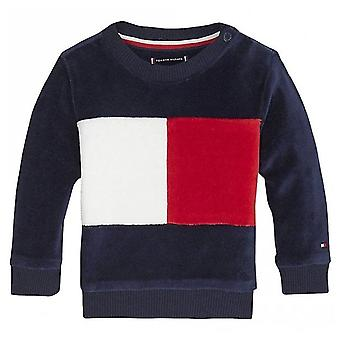 Tommy Hilfiger Boys Tommy Hilfiger Infant Boy's Navy Colour-Block Velour Sweatshirt
