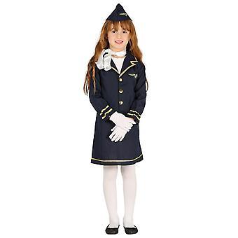 Girls Air Stewardess Hostess Fancy Dress Costume