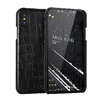 For iPhone XS MAX Cover,Genuine Crocodile Leather Back Shell Phone Case,Black