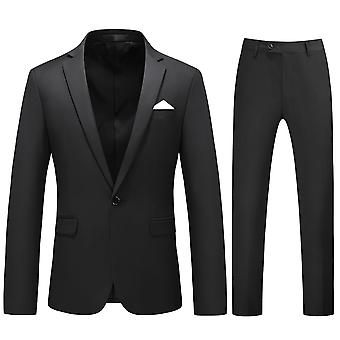 Allthemen mænd ' s jakkesæt 2-stykker dragter Slim Four Seasons Suit jakke & bukser 5 farver