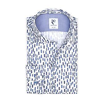 R2 Hidden Button Down Collar Shirt Sky Scraper Pattern