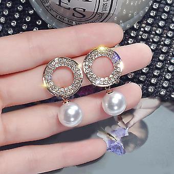 Pearl Drop Crystal Hoop Earrings