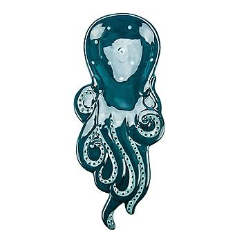 Boston Warehouse Blue Octopus Kitchen Spoon Rest or Trinket Dish 10.5 Inches