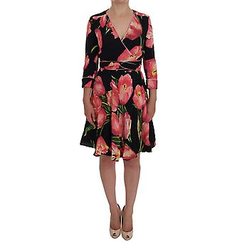 Dolce & Gabbana Black Pink Tulip Print Stretch Shift Dress