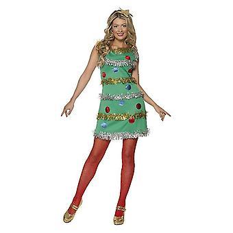 Womens Weihnachtsbaum Fancy Kleid Kostüm mit Stirnband