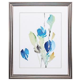 "27"" X 33"" Gunmetal Gray Frame Delicate Blue Floral I"