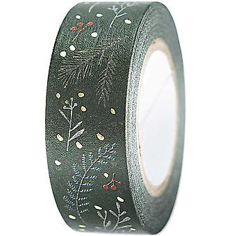 Green Christmas Craft Washi with Branches and Berries 10m