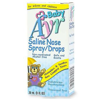 Ayr baby's saline nose spray, drops, 1 oz