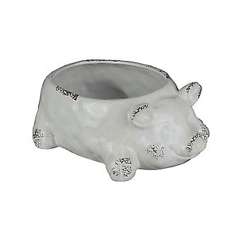 Adorable Weathered Glaze Dolomite Ceramic Smiling Pig Planter