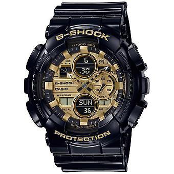Casio G-Shock Quartz Gold Dial Black Resin Strap Men's Watch GA-140GB-1A1ER