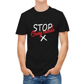 Allthemen Men's 3D Printed Stop Going Outside Warning Virus Series Short T-Shirt