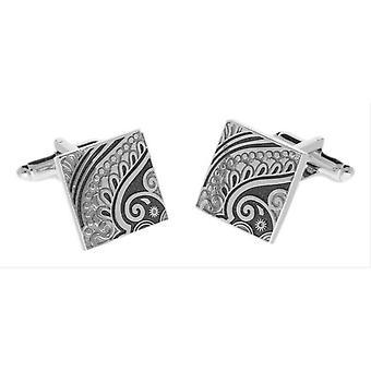 Duncan Walton Paisley Enamel Cufflinks - Silver