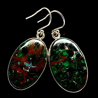 "Chrysocolla Earrings 1 1/2"" (925 Sterling Silver)  - Handmade Boho Vintage Jewelry EARR401000"