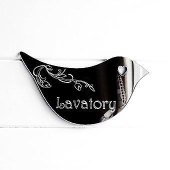 Floral Dove Acrylic Mirror Door or Wall Sign - LAVATORY