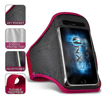 XXLarge Hot Pink Excercise Utomhus Sport Armband Telefonhållare Case Kör Gym för Wiko Tommy3 Plus